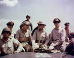 Sutherland, Kenney, Osmeña, MacArthur, and Romulo off Leyte, Philippines, circa 20-23 Oct 1944