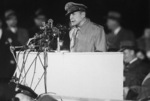 Douglas MacArthur addressing a crowd at Soldier Field, Chicago, Illinois, United States, 25 Apr 1951