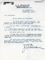 A letter from J. A. Sullivan to Harry Truman protesting the firing of Douglas MacArthur, 12 Apr 1951
