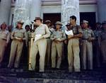 MacArthur, Osmeña, Kreuger, Sutherland at Leyte liberation ceremony, Tacloban, Leyte, Philippines, 23 Oct 1944