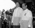 Inauguration ceremony of President Ramón Magsaysay and Vice President Carlos Garcia, Independence Grandstand (now Quirino Grandstand), Rizal Park, Manila, Philippines, 30 Dec 1953