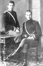 Antanas Ričardas Druvė (left) and Carl Mannerheim (right) at the Nicholas Cavalry School, Saint Petersburg, Russia, 1887-1889