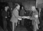 Carl Mannerheim presenting a gift to Rudolf Walden on his 60th birthday, 1 Dec 1938