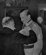 Field Marshal Mannerheim being decorated the Order of the Cross of Liberty by Finnish President Kyösti Kallio, 1940
