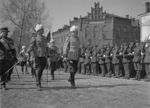 Marshal Mannerheim inspecting troops at the 20th anniversary of independent Finland, Viipuri, Finland, 1938; note Lieutnant General Harald Öhqvist with sword beside him