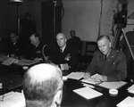 Lynde McCormick, Charles Cooke, Ernest King, and George Marshall at Montgomery House, Malta, 31 Jul 1945