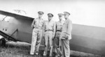 GEN George Marshall, LTGEN Frank Andrews, LTGEN Henry Arnold, and MAJGEN Oliver Echols observing a mock glider attack on Wright Field, Ohio, United States, circa 1942