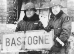 Brigadier General Anthony McAuliffe and Lieutenant Colonel Harry Kinnard II at Bastogne, Belgium, late Dec 1944