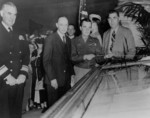 General Anthony McAuliffe unveiling the German surrender document in the rotunda of the National Archives Building, Washington DC, United States, 6 Jun 1945