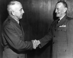 US Navy Vice Admiral Aubrey Fitch relieves Vice Admiral John S. McCain, Sr. as Deputy Chief of Naval Operations for Air, Washington, DC, United States, 1 Aug 1944