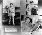 Collage from USS Hancock Cruise Book showing Vice Admiral John S. McCain, Sr. aboard his flagship; shown on the flight deck, admiral