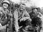 Roy Matsumoto, Frank Merrill, and an unidentified Nisei soldier at Burma, date unknown