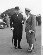 French Ambassador André François-Poncet speaking with German Luftwaffe General Erhard Milch, Paris, France, 4 Oct 1937