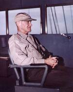 Admiral Mitscher at the bridge of his flagship, circa 1946