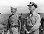 Mitscher and Nimitz off Guam, 1945