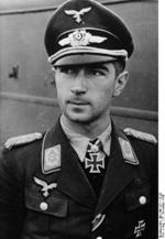 Portrait of German Luftwaffe Oberstleutnant Werner Mölders, 27 Nov 1940; note Knight