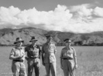 Lt Gen Edmund Herring, Lt Col J. A. Bishop, Maj Gen G. A. Vasey, and Lt Gen Leslie Morshead at Ramu Valley, New Guinea, 1 Oct 1943