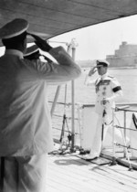 Admiral of the Fleet Earl Louis Mountbatten arriving aboard HMS Glasgow to assume his new position as commander of the Mediterranean Fleet, Malta, 16 May 1952