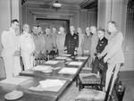 Louis Mountbatten, John Dill, Hastings Ismay, Ernest King, Henry Arnold, William Leahy, Kenneth Stuart, Percy Nelles, and George Marshall at Ch?teau Frontenac during Quebec Conference, Canada, Aug 1943