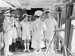 Captain M. M. Denny welcoming Louis Mountbatten aboard HMS Victorious, Trincomalee, Ceylon, 1940s