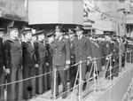 The Duke of Kent Prince George inspecting destroyer HMS Kelley at Devonport, England, United Kingdom, 1939-1941; note Captain Louis Mountbatten