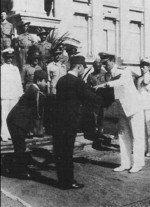 Louis Mountbatten accepting the sword of Hisaichi Terauchi, Saigon, French Indochina, 30 Nov 1945