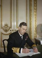 Admiral Lord Louis Mountbatten at his desk, 1943