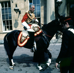Earl Louis Mountbatten atop a horse in the quadrangle of Buckingham Palace, London, England, United Kingdom, 1973