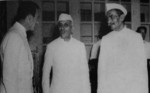 Louis Mountbatten, Jawaharlal Nehru, and Rajendra Prasad during the independence ceremony of India, 15 Aug 1947