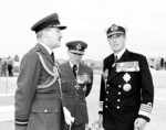 Donald Hardman, Claude Pelly, and Louis Mountbatten at RAF Takali, Malta, 1 Dec 1954