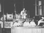 Louis Mountbatten speaking during the independence ceremony of India, 15 Aug 1947