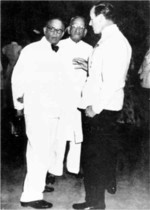 N. Gopalaswami Aiyangar, Vappala Pangunni Menon, and Louis Mountbatten, 30 May 1948