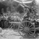 Louis Mountbatten addressing men of British Royal Armoured Corps, Mandalay, Burma, 21 Mar 1945
