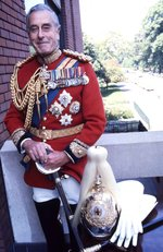 Earl Louis Mountbatten in the uniform of a colonel of the British Household Cavalry, at Knightsbridge Barracks, London, England, United Kingdom, date unknown