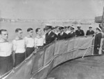 Captain Louis Mountbatten with the crew of HMS Kelvin, Valleta Harbour, Malta, 1939-1941