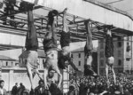 Bodies of Nicola Bombacci, Benito Mussolini, Claretta Petacci, Alessandro Pavolini, and Achille Starace on display at Milan, Italy, 29 Apr 1945