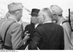 General Fernando Soletti, Benito Mussolini, and General Gueri shortly after departing from Gran Sasso, Italy, 12 Sep 1943