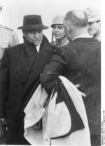 Benito Mussolini shortly after departing from Gran Sasso, Italy, 12 Sep 1943