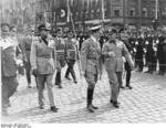 Adolf Hitler and Benito Mussolini at München, Germany for the Munich Conference, 29 Sep 1938, photo 8 of 9