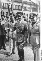 Adolf Hitler and Benito Mussolini at München, Germany for the Munich Conference, 29 Sep 1938, photo 6 of 9