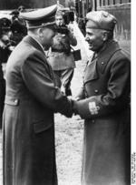 Adolf Hitler and Benito Mussolini, near Salzburg, Austria, 7 Apr 1943