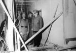 Adolf Hitler showing Benito Mussolini the wreckage after the unsuccessful assassination attempt on Adolf Hitler, Wolfsschanze, Rastenburg, Germany, late Jul 1944, photo 2 of 2