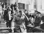 Benito Mussolini outside the Führerbau building in München, Germany, 29 Sep 1938