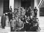 Benito Mussolini, Rudolf Heß, Galeazzo Ciano, Ernst von Weizsäcker, and others outside the Führerbau building in München, Germany, 29 Sep 1938