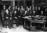 Benito Mussolini signing a treaty with Soviet representatives at the Palazzo Chigi, Rome, Italy, 7 Feb 1924