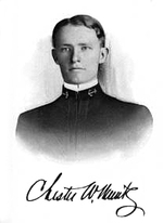 Portrait of Chester Nimitz, circa early 1900s; note signature