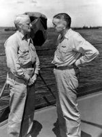 Chester Nimitz and William Halsey aboard USS Curtiss at