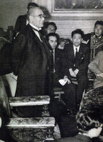 Admiral Kichisaburo Nomura meeting journalists immediately following his appointment as the Foreign Minister, Sep 1939
