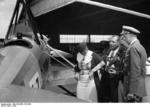 Osterkamp and his wife inspecting an aircraft, Berlin, Germany, 1933, photo 2 of 2; note aviator Walter Hagen