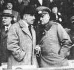 German Chancellor Franz von Papen and Minister of War Kurt von Schleicher at a horse race, Berlin, Germany, 1932